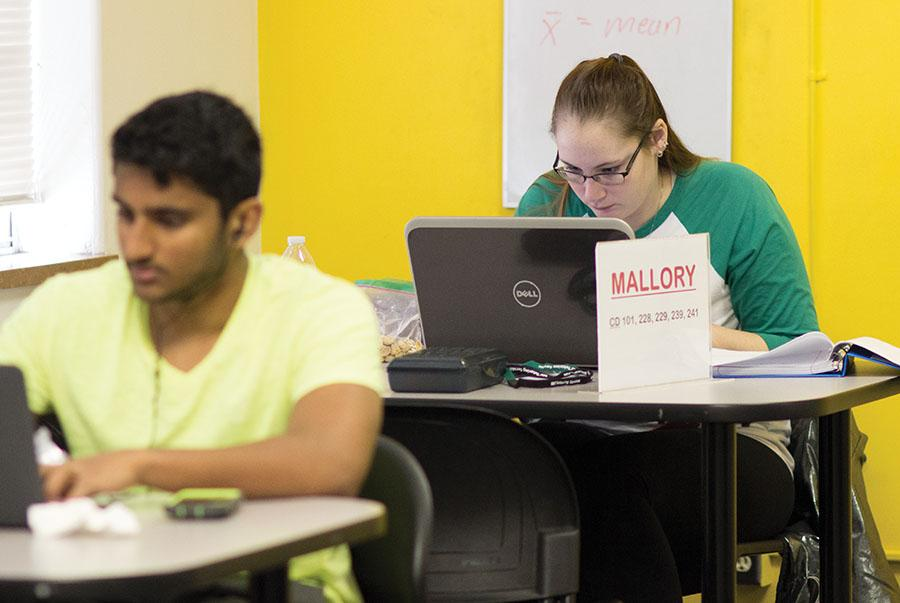 Marshall student, Mallory Newsome, utilizes the tutoring center.