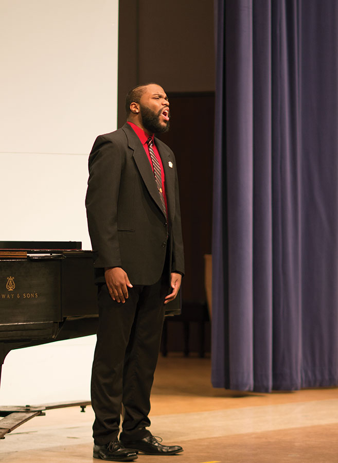 Gabriel Gray performs at his senior recital on February 13, 2015 in Smith Recital Hall.