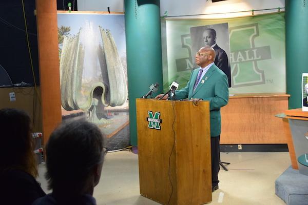 Dr. Burnis Morris speaking at the Carter G. Woodson Press Conference.