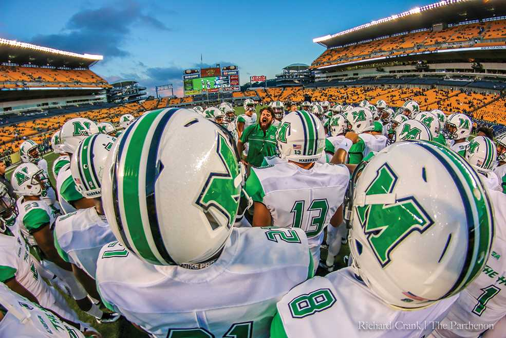 The Marshall football team takes the field ahead of their game with the Pittsburgh Panthers. Marshall ultimately lost the game 41-27, their second loss of the season to an ACC school.