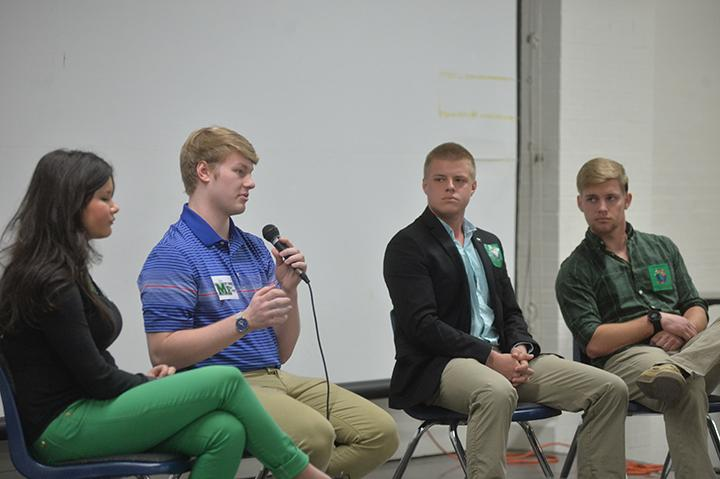Student+body+president+Matt+Jarvis+responds+to+questions+from+moderator+Tom+Jenkins+on+stage+with+the+other+student+government+candidates+during+the+second+SGA+Debate+Monday%2C+March+13%2C+2017+inside+the+Memorial+Student+Center.