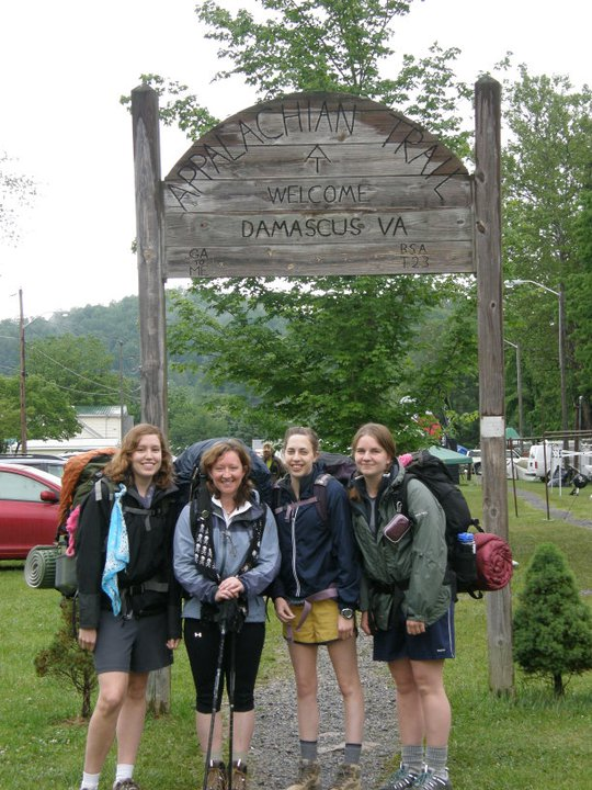 FROM+LEFT+TO+RIGHT%3A%0ARachel+Sparkman%2C+Kristi+Fondren%2C+Lindsay+Heinemann+and+Meghan+Arnold+gather+at+a+trail+head+in+Damascus%2C+Virginia%2C+the+site+of+Trail+Days.+Trail+Days+features+a+variety+of+activities+for+those+interested+in+the+Trail%2C+including+parades%2C+talent+shows+and+free+nightly+outdoor+concerts.