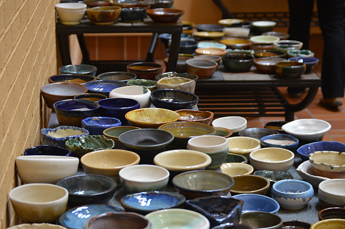 Bowls+created+by+Marshall+students+and+volunteers+were+available+for+purchase+at+the+annual+Empty+Bowls+event+to+raise+funds+for+Facing+Hunger+Foodbank.