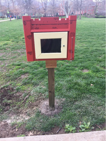 The sociology club worked to open a Little Free Library on Marshall's campus. It's located on Buskirk Field.