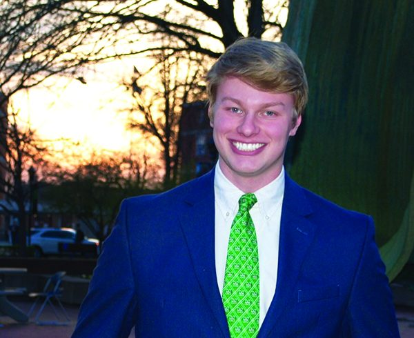 Marshall University's Student Body President, Matt Jarvis, poses for a photo outside at the Memorial Student Center Fountain. Jarvis is set to give a presentation at Huntington City Hall on Monday at 7 p.m.