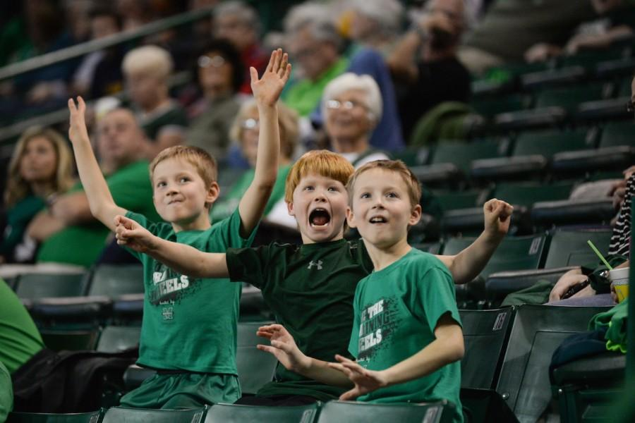 Marshall fans cheer as the Herd men's basketball plays Concord University in an exhibition game Nov. 8, 2014 at the Cam Henderson Center.
