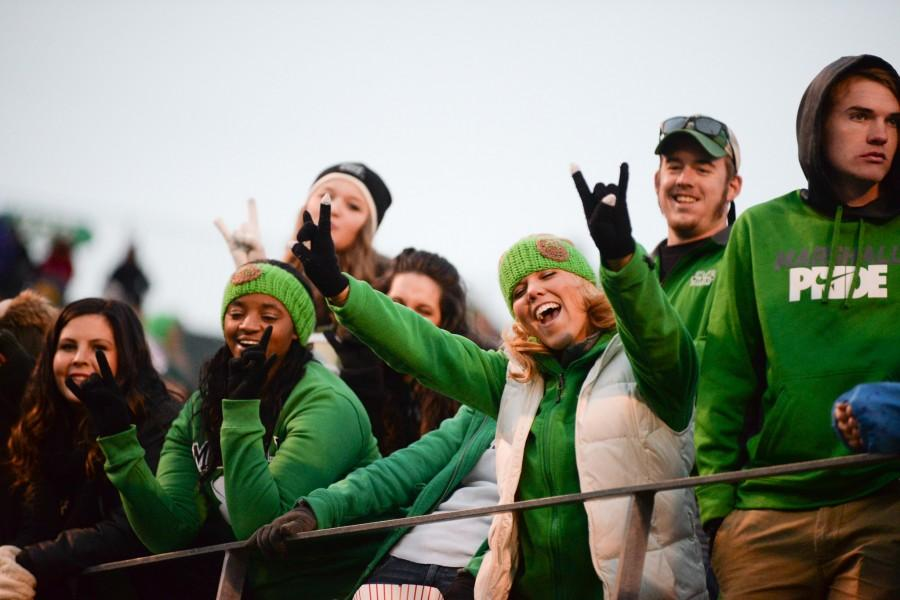 Marshall+students+look+on+from+the+stands+as+the+Herd+face+off+at+home+against+Rice+during+the+2015+season.