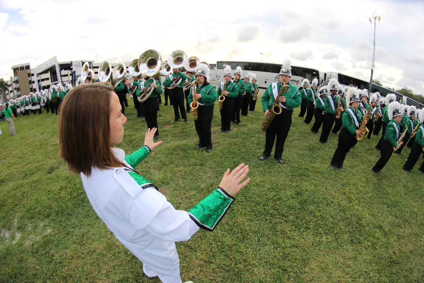 The Marching Thunder warms up before the Boca Raton Bowl Tuesday in Boca Raton, Florida.