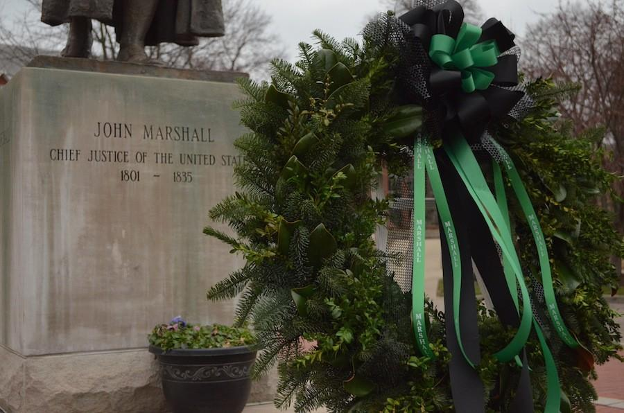 A+wreath+displayed+in+the+middle+of+Marshall+University%27s+campus+pays+tribute+to+President+Stephen+J.+Kopp+who+died+suddenly+Wednesday.+