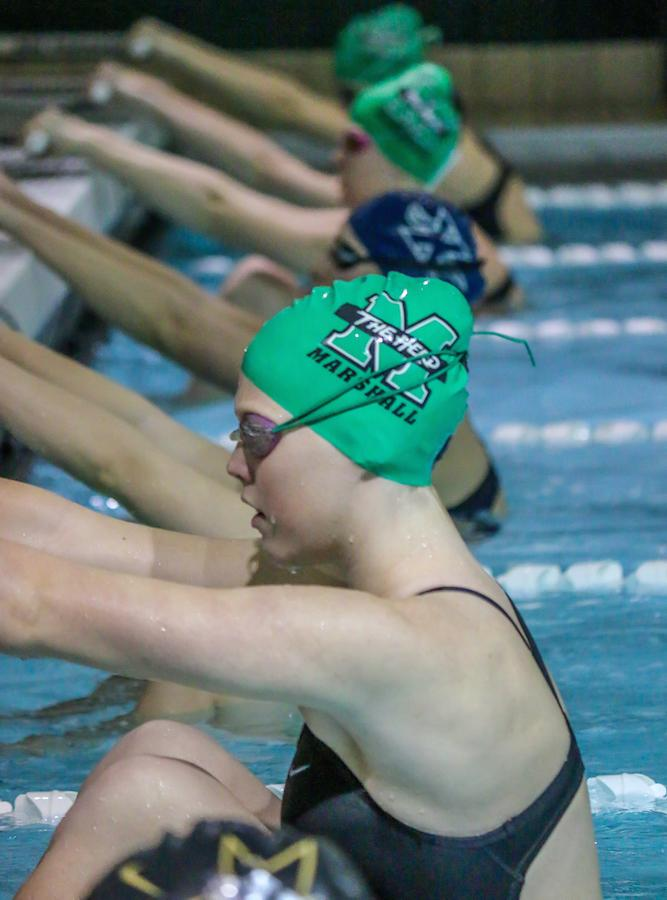 Marshall University swimming and diving competes against Xavier University Nov. 1, 2014 in the Fitch Natatorium.