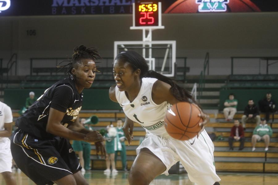 Marshall University women's basketball team beat the University of Southern Mississippi Lady Eagles 67-65 in the Cam Henderson Center Thursday.