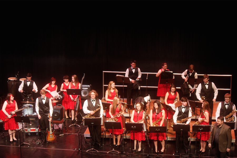 Bridgeport High School's honor band plays at the Joan C. Edwards Playhouse Thursday.