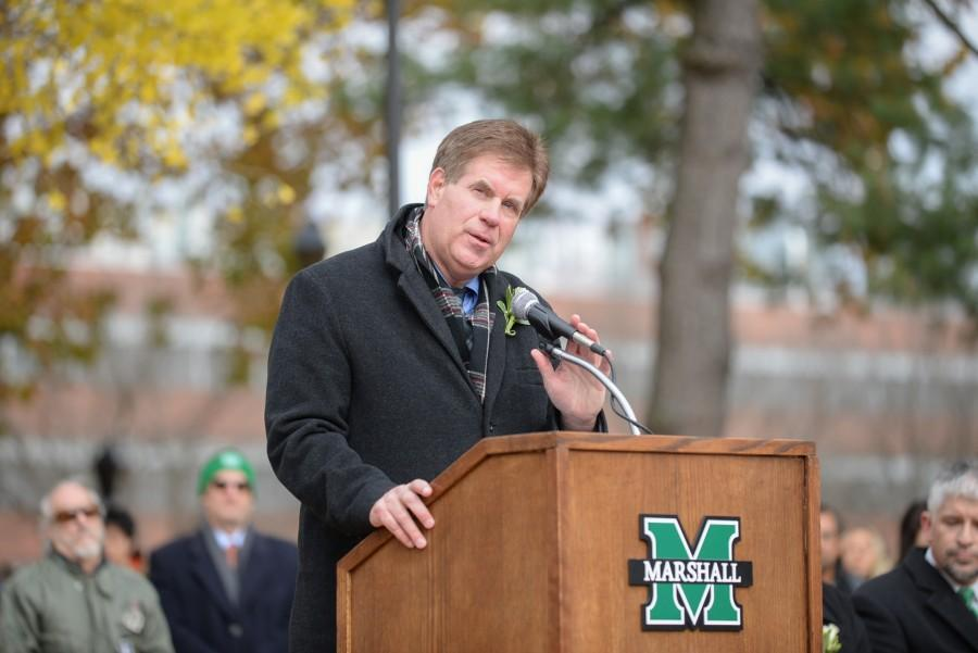 Mike+Hamrick%2C+athletic+director%2C+delivers+a+speech+during+the+44th+annual+memorial+service+on+Friday+at+the+Memorial+Student+Center+Plaza.