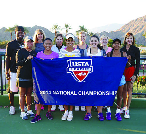 Linda Holmes (second row far right) competes in a national tournament in Indian Wells, Calif.