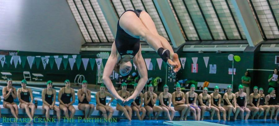 Marshall+University+swimming+and+diving+competes+against+Western+Kentucky+University+Jan.+31%2C+in+the+Fitch+Natatorium.+