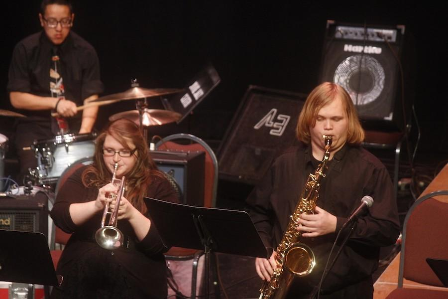 Students+from+Glenville+State+College+Jazz+Combo+perform+Thursday+at+the+Joan+C.+Edwards+Playhouse.+