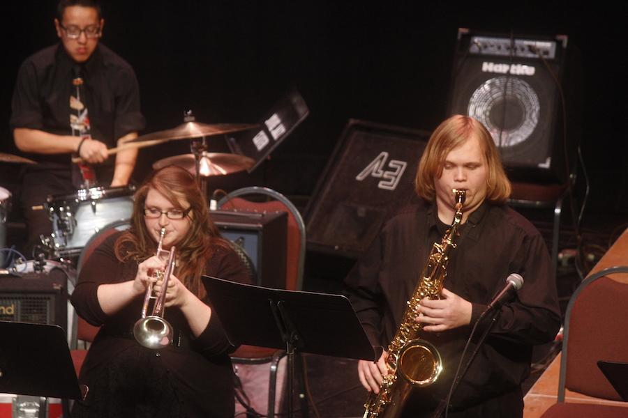 Students from Glenville State College Jazz Combo perform Thursday at the Joan C. Edwards Playhouse.
