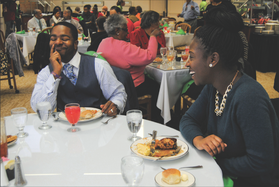 Pastor+Deonte+Jackson+of+First+Baptist+Church+of+Huntington%2C+left+and+Priscilla+Adjei-Baffour%2C+pharmacy+student+enjoy+dinner+during+the+Center+for+African+American+Studies%E2%80%99+Soul+Food+Fest+Feb.+9%2C+2014+in+the+Memorial+Student+Center.