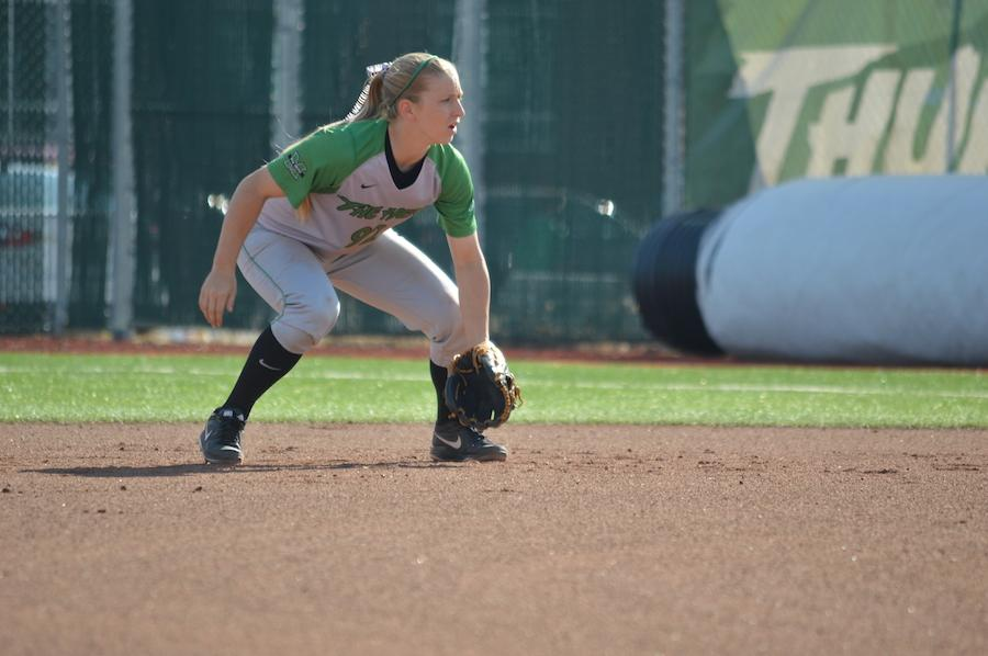 Katalin Lucas plays the field during the Thundering Herd's matchup with the University of Kentucky at Dot Hicks Field in Huntington March 11, 2014.