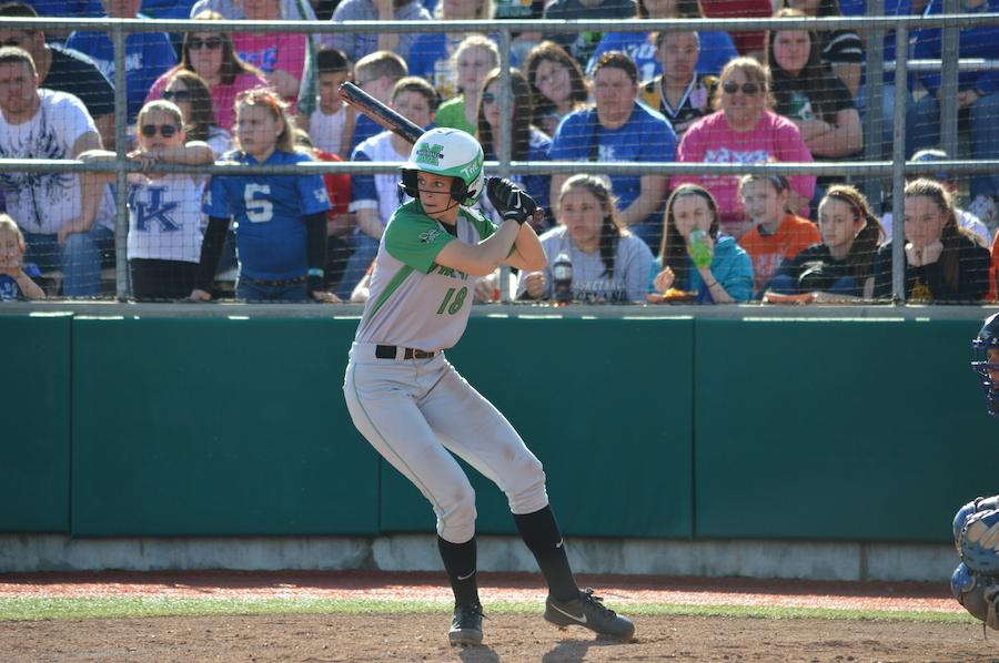 Morgan Zerkle waits for a pitch against the University of Kentucky March 11, 2014 at Dot Hicks Field in Huntington.