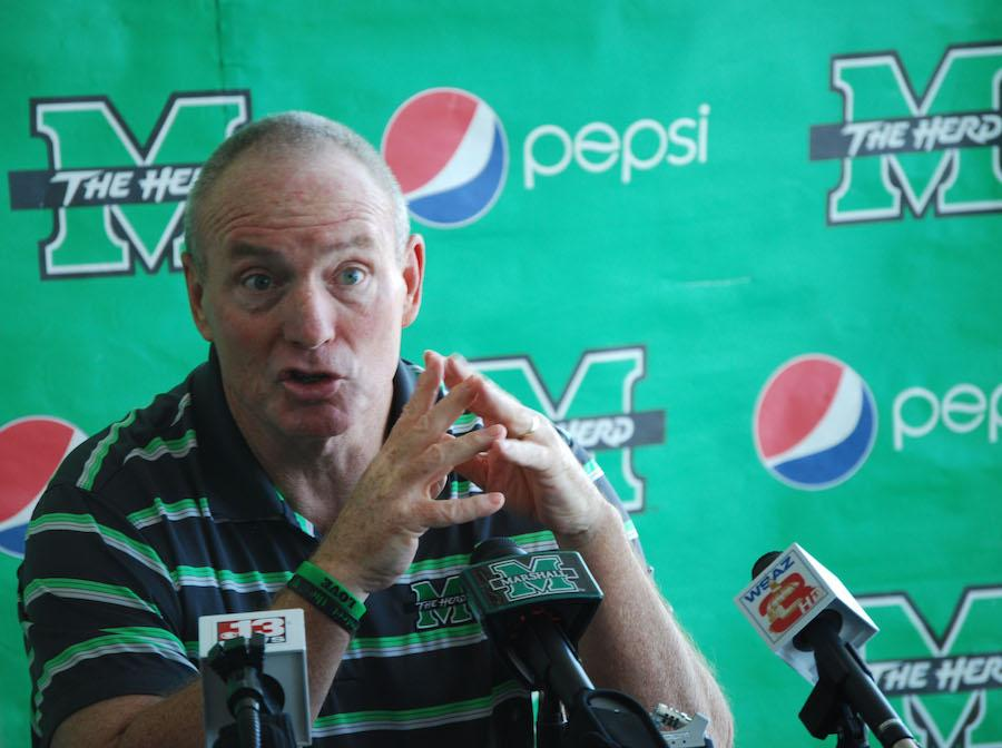 Thundering Herd head coach Doc Holliday speaks at his annual pre-spring football press conference. The Marshall University football team will begin spring practices Tuesday and finish with the annual spring game April 25.