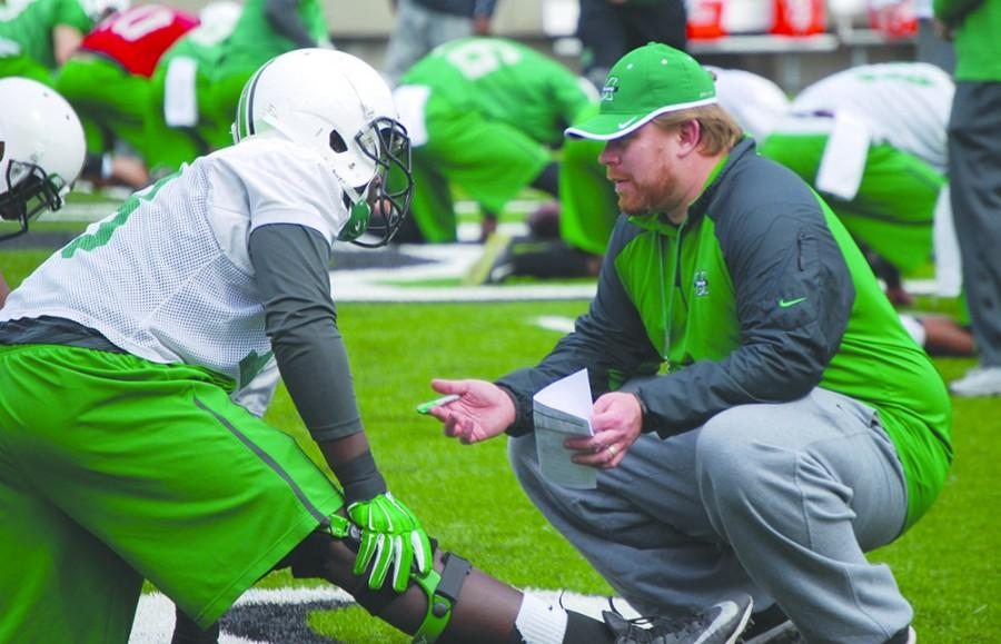 The+2015+Marshall+University+football+team+starts+drills+during+its+first+spring+practice+Tuesday+at+the+Joan+C.+Edwards+Stadium.