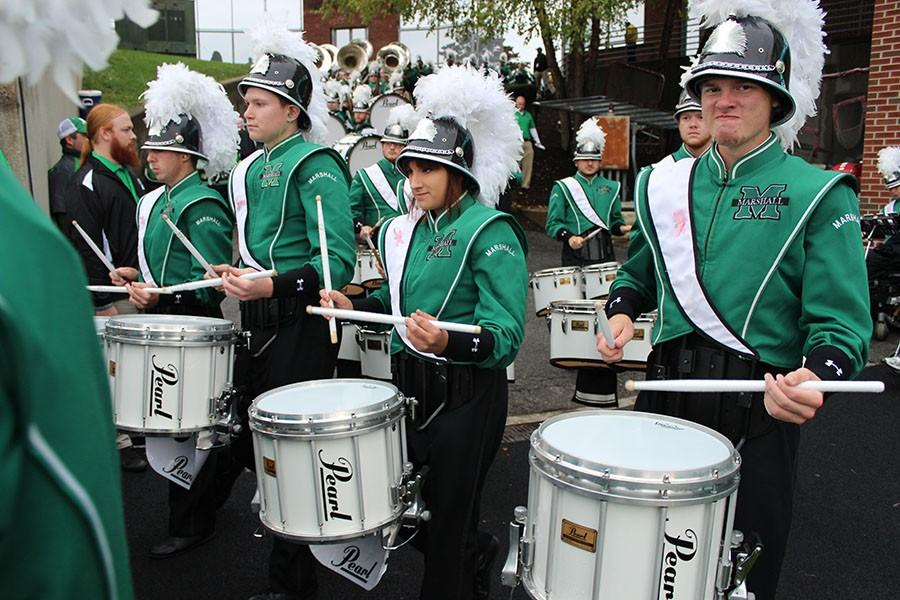 Members+of+the+Marching+Thunder+drum+line+perform+at+the+Marshall+vs.+Middle+Tennessee+Homecoming+game+Oct.+11%2C+2014.