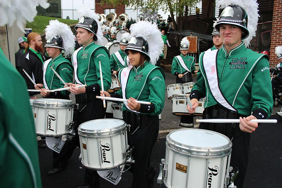 Members of the Marching Thunder drum line perform at the Marshall vs. Middle Tennessee Homecoming game Oct. 11, 2014.