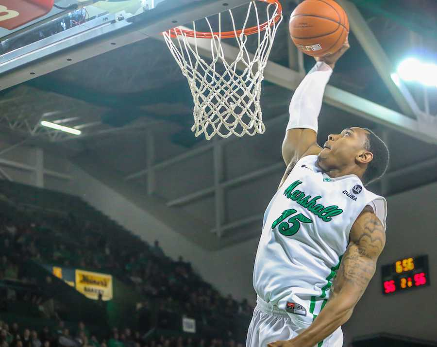 DaVince Boykins goes for a shot against Florida Atlantic University Saturday at the Cam Henderson Center.