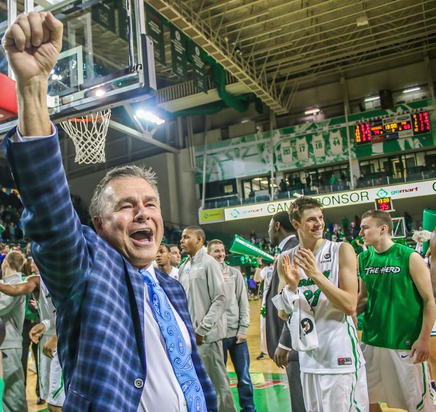 Senior+men%27s+basketball+players%2C+cheerleaders%2C+and+dance+team+members+were+honored+Saturday+prior+to+the+final+home+game+of+the+season.+The+Thundering+Herd+beat+the+Florida+Atlantic+University+Owls+79-63.+