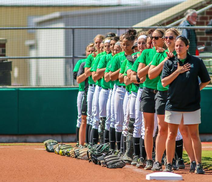 The+Thundering+Herd+softball+team+swept+Wright+State+University+Tuesday+in+a+doubleheader+at+Dot+Hicks+Field.+The+Herd+won+the+first+game+3-2+on+a+walk-off+by+Morgan+Zerkle+and+the+second+game+by+a+score+of+11-2.+