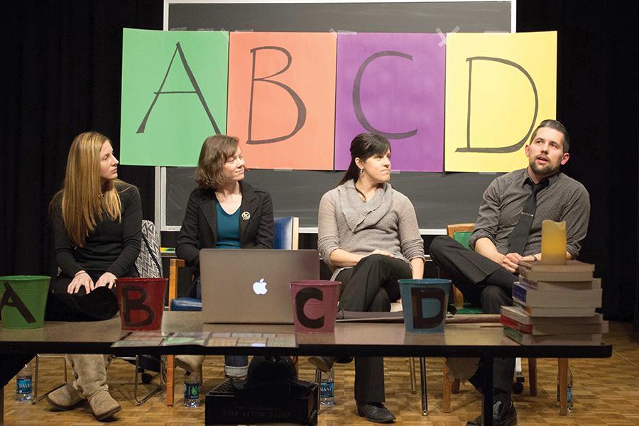 Professors Dawn Howerton, left, Hillary Brewster, Robin Conley and Shawn Schulenberg participate in