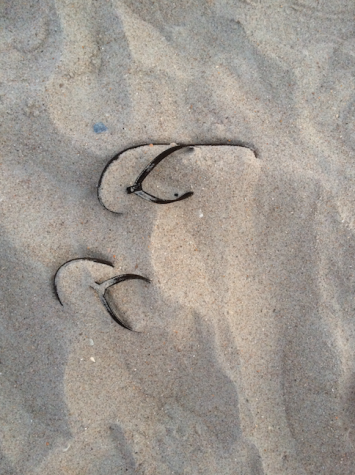 This summer memory photo shows flip flops buried on a sandy beach in North Carolina.