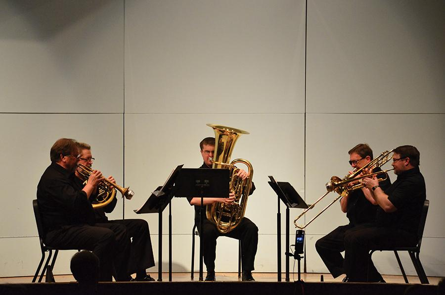 Marshall faculty perform as a quintet Wednesday in Smith Recital Hall. Performers include Steven Trinkle (trumpet), left, Stephen Lawson (French horn), George Palton (tuba), Michael Stroeher (trombone) and  Martin Saunders (trumpet).