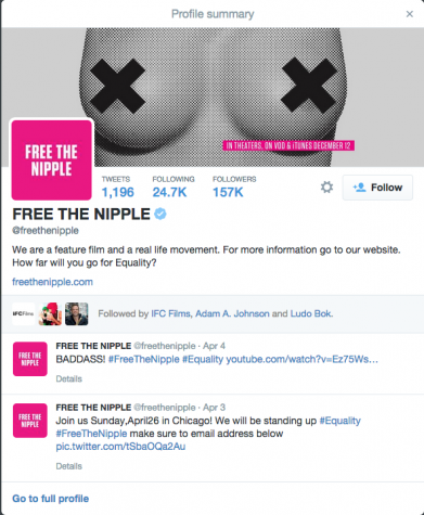 The #FreeTheNipple movement gets plenty of tags on Twitter, even having its own account and several other accounts, like i-D magazine, devoting many posts to #FreeTheNipple promotion.