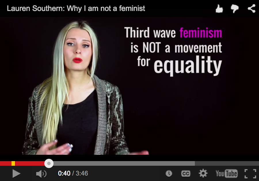 """This screenshot taken from Southern's video shows her statement, """"Third wave feminism is not a movement for equaltiy."""" She goes on to give several statistics including that more males are raped annually in the U.S. than females, """"yet feminists remain silent,"""" she says."""