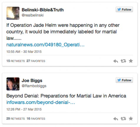 Citizens take to Twitter to express their dismay over Operation Jade Helm scheduled to take place this summer through September.