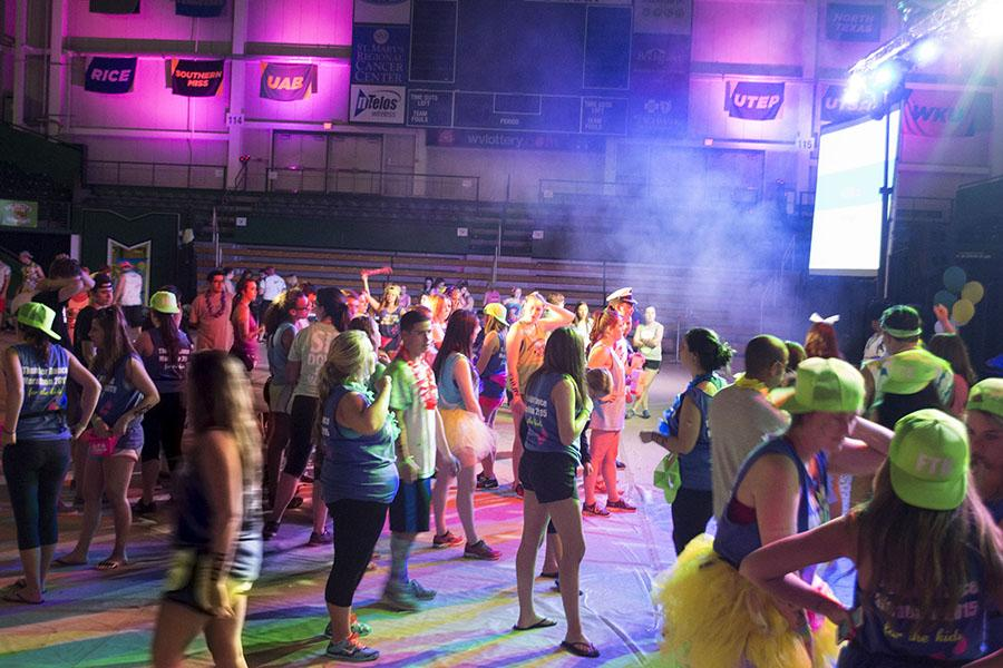 Students participate in the Thunder Dance marathon to raise money for the Hoops Family Children's Hospital at Cabell Huntington Hospital.