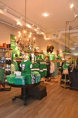 Old Main Emporium, located on 4th Avenue in downtown Huntington, specializes in selling unique Kelly green apparel and accessories.