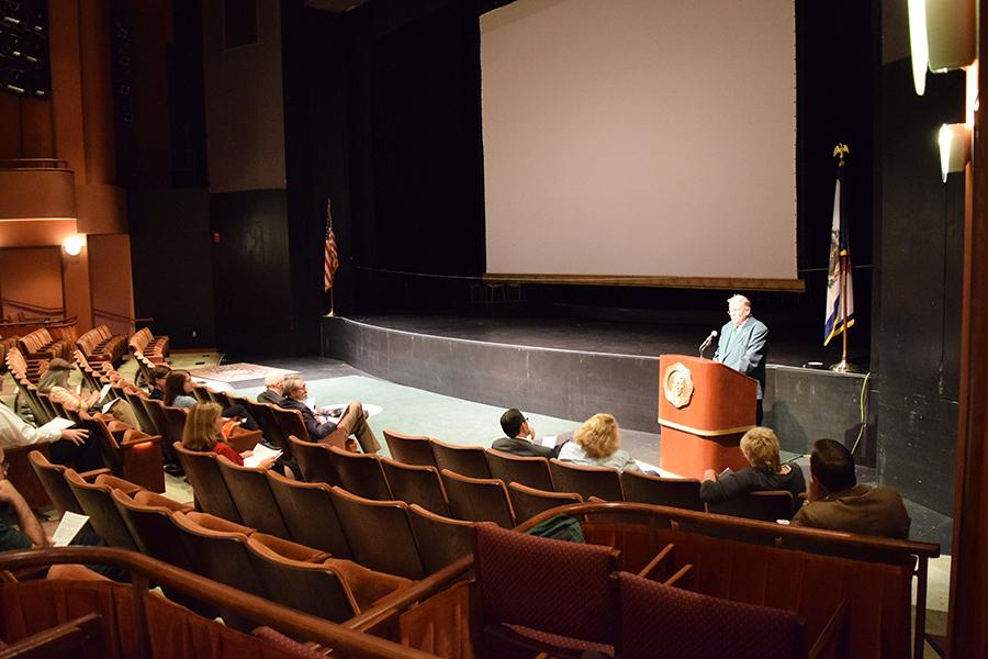 The first General Faculty Meeting takes place in the Joan C. Edwards Playhouse.