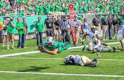 Devin Johnson catches pass at Marshall v. Purdue game.