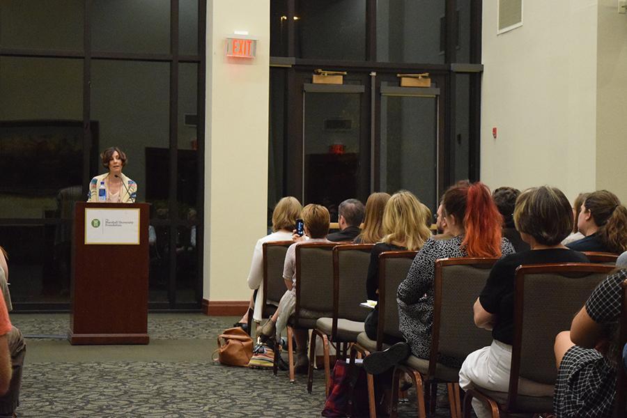 Rachael Peckham speaks at Writer's Harvest.