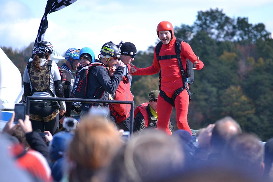 A base jumper pumps himself up for the 876-foot plunge at Bridge Day Saturday.