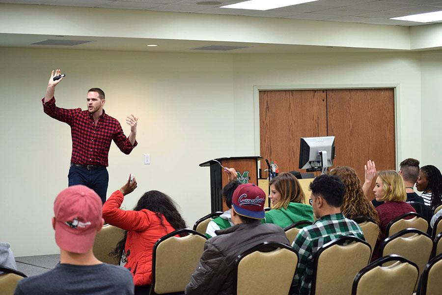 Hudson Taylor talks to students about his message on LGBT equality and inclusion in sports.