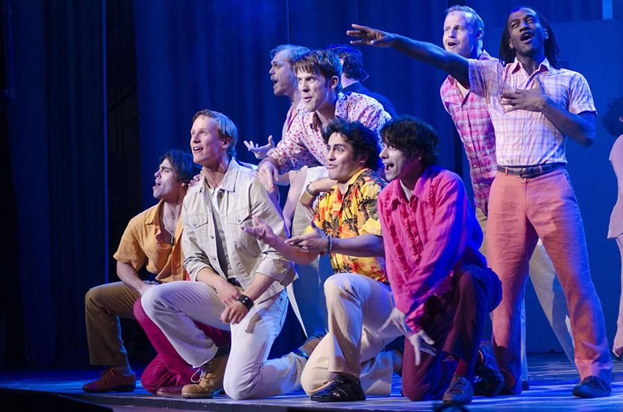 The+cast+kneels+down+to+sing+in+one+of+the+finals+musical+numbers+of+%E2%80%9CMamma+Mia%E2%80%9D+Wednesday.