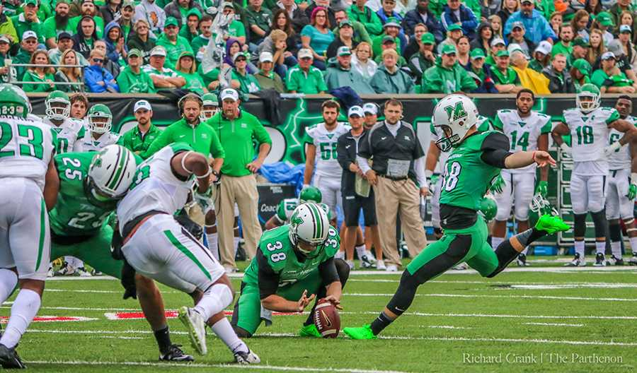 Marshall kicker Nick Smith attempts a field goal against the University of North Texas  Oct. 24