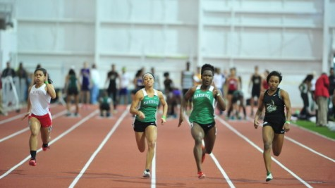 Members of Marshall University's track team compete in a meet last season at the Chris Cline Athletic Complex.