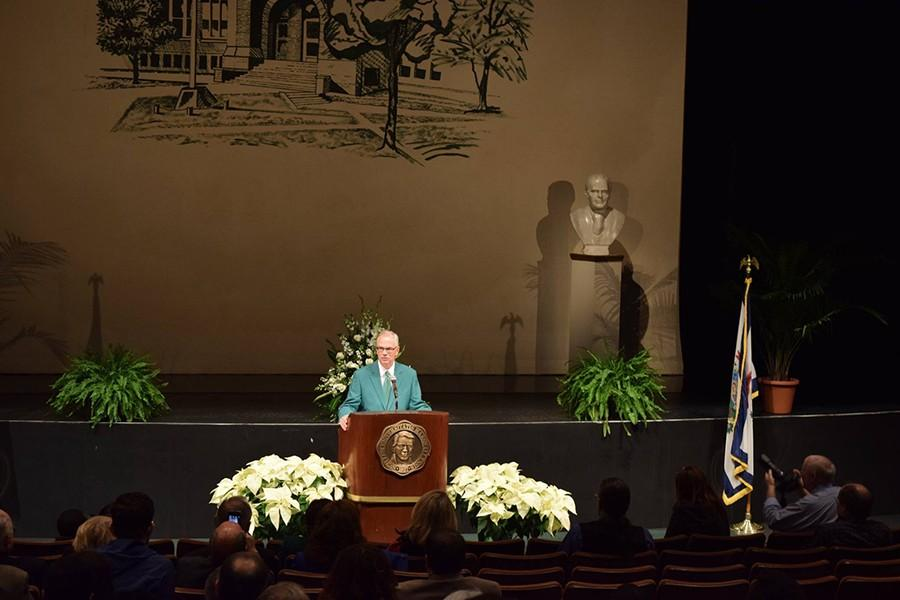 Marshall+University%E2%80%99s+37th+President+Jerome+A.+Gilbert+addressed+the+crowd+at+his+official+welcoming+Wednesday+in+the+Joan+C.+Edwards+Performing+Arts+Center.