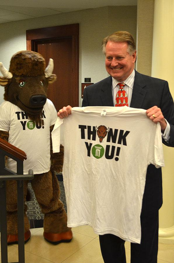 Huntington Mayor Steve Williams participates in the Marshall University #GivingTuesday activities at the Brad D. Smith Foundation Hall Tuesday.