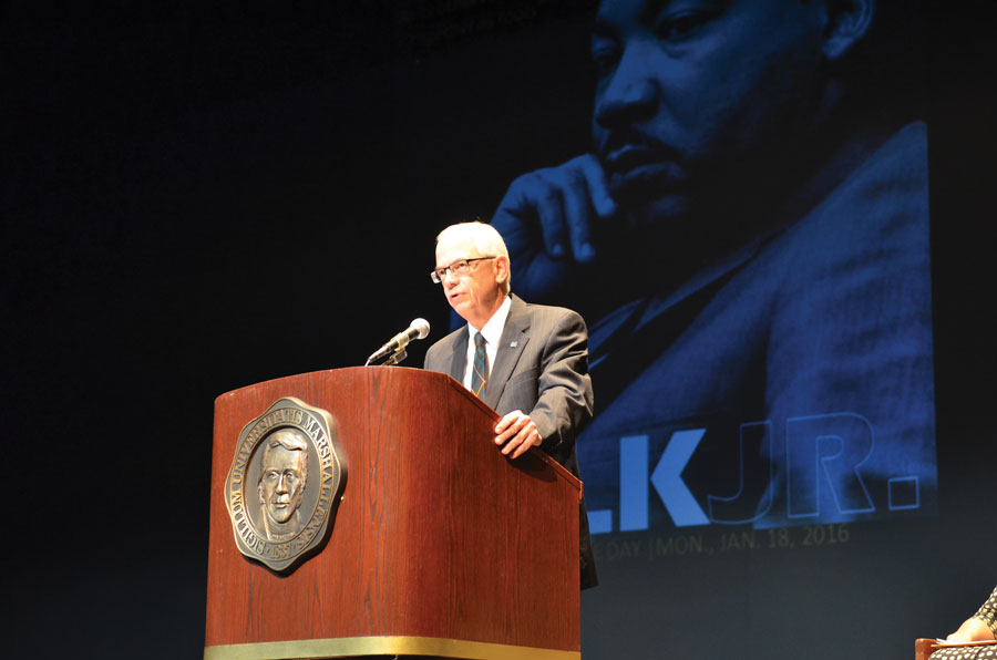 President Gilbert speaks at the MLK Jr. Observance Day event, Monday January 18.